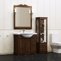 Комплект мебели (тумба подвесная с раковиной + зеркало с подсветкой) Opadiris Клио 70 для ванной комнаты орех антикварный