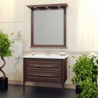 Комплект мебели (тумба с раковиной+ зеркало с подсветкой) Opadiris Корлеоне 80  для ванной комнаты светлый орех с патиной