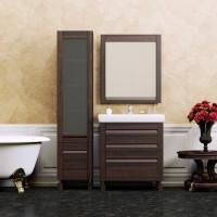 Комплект мебели (тумба напольная с раковиной + зеркало с подсветкой) Opadiris Лаварро 70 для ванной комнаты венге