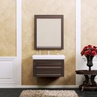 Комплект мебели (тумба подвесная с раковиной + зеркало с подсветкой) Opadiris Лаварро 70 для ванной комнаты венге