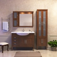 Комплект мебели (тумба напольная с раковиной + зеркало с подсветкой + шкафчик) Opadiris Мираж 100 для ванной комнаты светлый орех