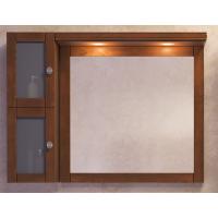 Зеркало с подсветкой и шкафчиком Opadiris Мираж 100 для ванной комнаты светлый орех