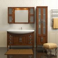 Комплект мебели (тумба напольная с раковиной + зеркало с подсветкой + 2 шкафчика) Opadiris Мираж 120 для ванной комнаты светлый орех