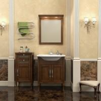 Комплект мебели (тумба напольная с раковиной + зеркало с подсветкой) Opadiris Мираж 65 для ванной комнаты светлый орех