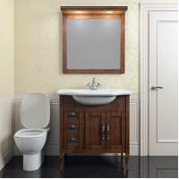 Комплект мебели (тумба напольная с раковиной + зеркало с подсветкой) Opadiris Мираж 80 для ванной комнаты светлый орех