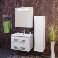 Комплект мебели (тумба с раковиной+ зеркало с подсветкой) Opadiris Октава 60 для ванной комнаты белый глянцевый