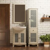 Комплект мебели (тумба напольная с раковиной+зеркало) Opadiris Омега 55 для ванной комнаты слоновая кость