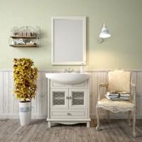 Комплект мебели (тумба напольная с раковиной+зеркало) Opadiris Омега 75 для ванной комнаты слоновая кость