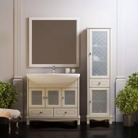 Комплект мебели (тумба напольная с раковиной+зеркало) Opadiris Омега 90 для ванной комнаты слоновая кость