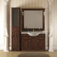Комплект мебели (тумба напольная с раковиной+зеркало с подсветкой) Opadiris Риспекто 105 для ванной комнаты