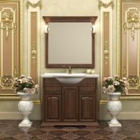 Комплект мебели (тумба напольная с раковиной+зеркало с подсветкой) Opadiris Риспекто 95 для ванной комнаты