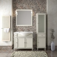 Комплект мебели (тумба напольная с раковиной+зеркало с подсветкой) Opadiris Санрайз 90 для ванной комнаты слоновая кость