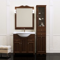 Комплект мебели (тумба напольная с раковиной+зеркало с подсветкой) Opadiris Тибет 70 для ванной комнаты