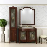 Комплект мебели (тумба с раковиной + зеркало с подсветкой) Opadiris Виктория для ванной комнаты светлый орех